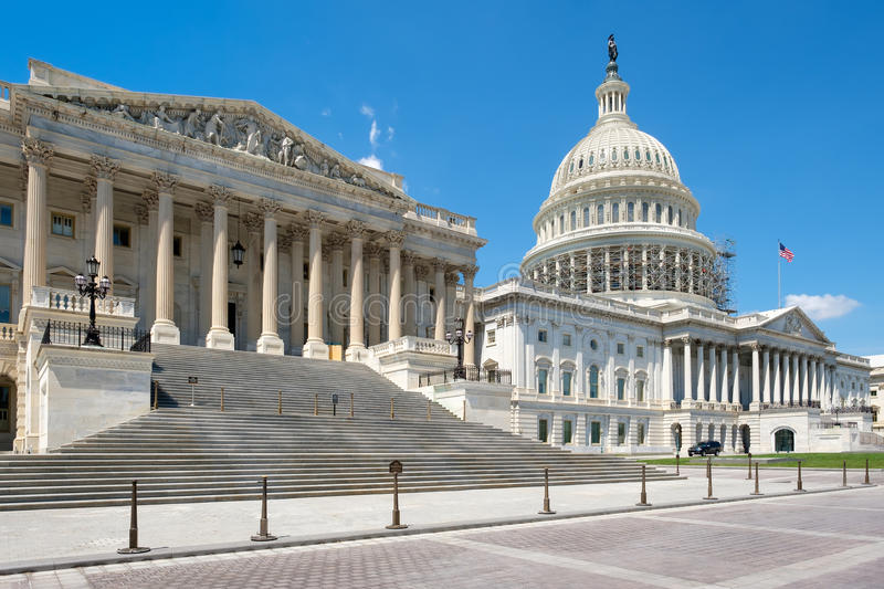The US Capitol building in Washington D.C. The US House of Representatives and the Capitol building dome in Washington D.C stock image