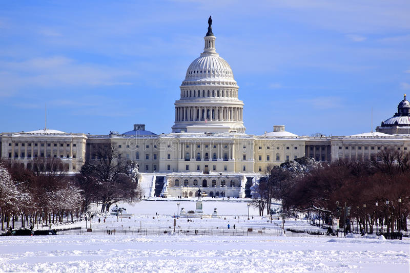 US Capitol Dome Houses Congress Snow Washington DC royalty free stock photos