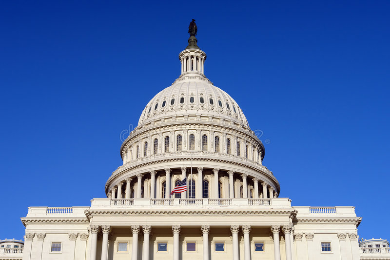 US Capitol and Flag royalty free stock images
