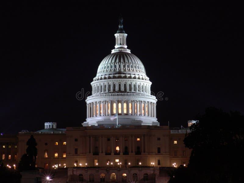 US Capitol at night stock image