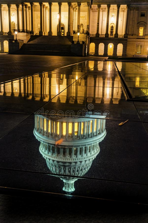 US Capitol North Side Night Stars Washington DC Reflection stock image