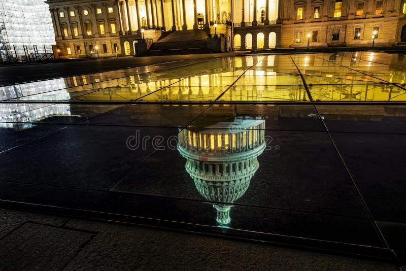 US Capitol North Side Night Stars Washington DC Reflection. US Capitol North Side Congress House Representatives Senate Capital City Night Stars Washington DC stock images