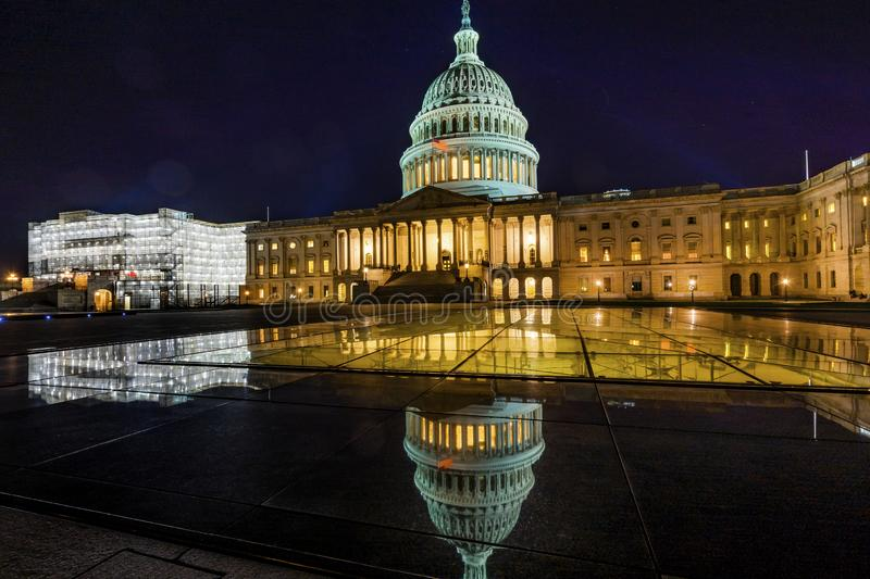 US Capitol Reflection North Side Night Stars Washington DC stock photo