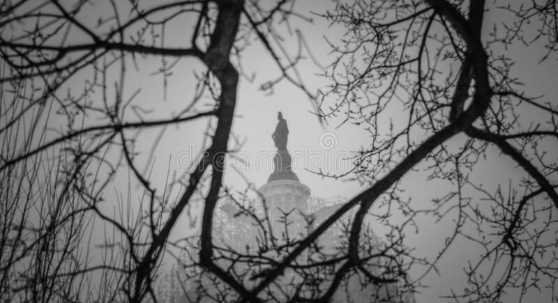 US Capitol's Statue of Freedom During Blizzard royalty free stock photography