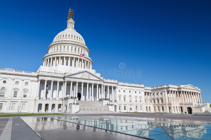 US Capitol, Washington DC. US Capitol over blue sky, Washington DC stock images