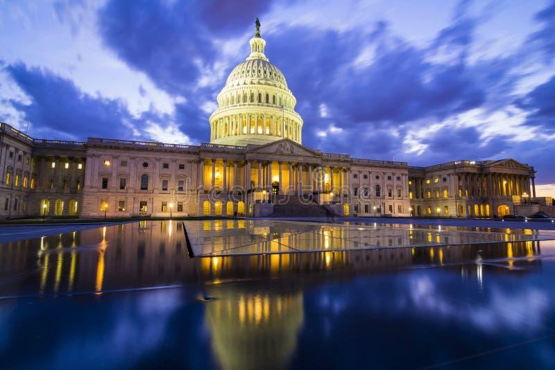 The US Capitol in Washington DC at nightfall royalty free stock photos