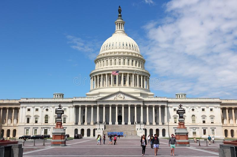 US Capitol. WASHINGTON DC, USA - JUNE 14, 2013: People visit the US Capitol in Washington DC. 18.9 million tourists visited capital of the United States in 2012 stock images