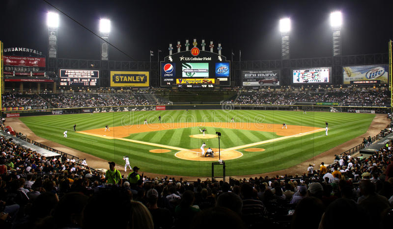 US Cellular Baseball Field at Night. A view of US Cellular Field, home of the Major League Baseball Chicago White Sox, from behind homeplate