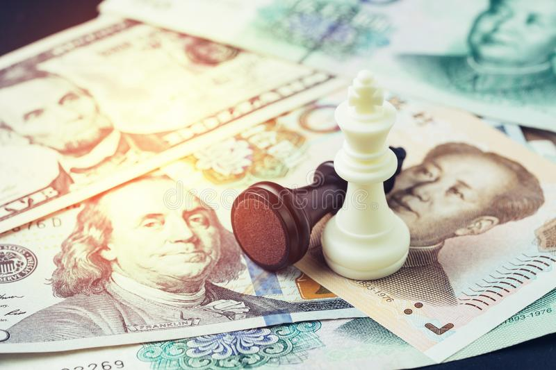 US and China finance tariff trade war concept, black loser and w royalty free stock photography