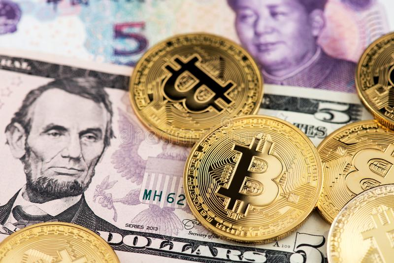 US and China finance trade war concept. USA China Bitcoin cryptocurrency stock photography