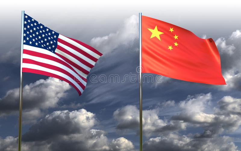 US-China trade war, China flag and US flag. On dark clouds background, 3d render stock illustration