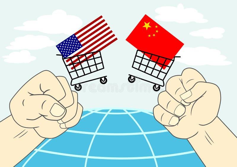 US China Trade War Illustration Concept stock illustration
