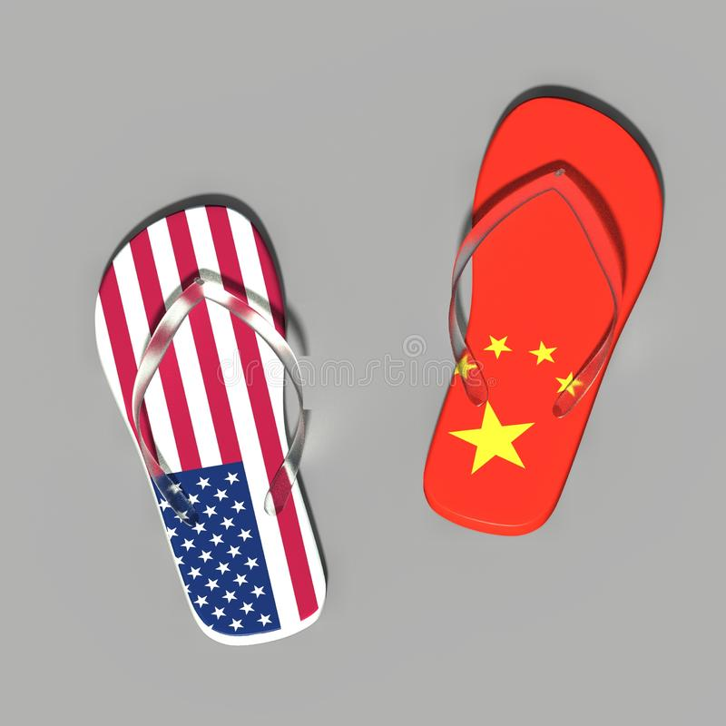 US-China trade war, shoes with the image of the China flag and the US flag vector illustration