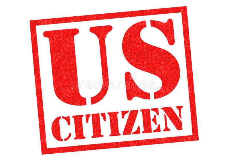 US CITIZEN. Red Rubber Stamp over a white background stock illustration