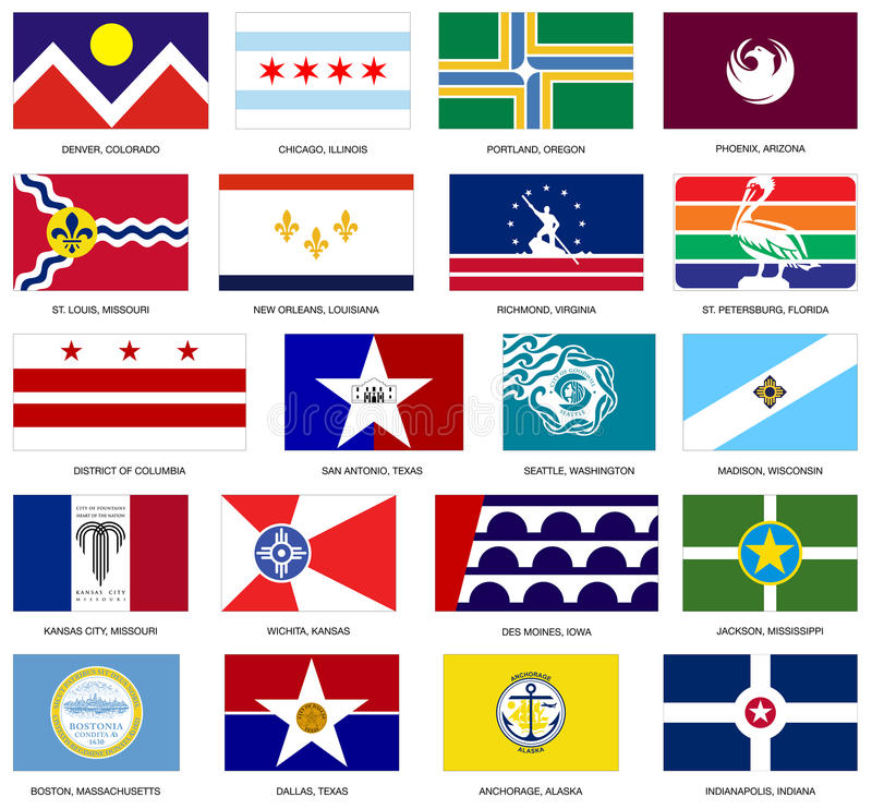 US City Flags Vector