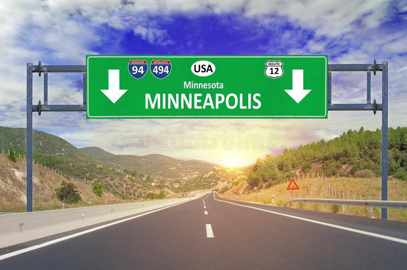 US city Minneapolis road sign on highway royalty free stock photography
