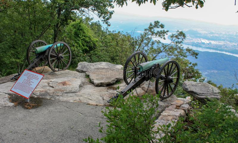 US Civil War Era Cannons Overlooking Chattanooga royalty free stock image