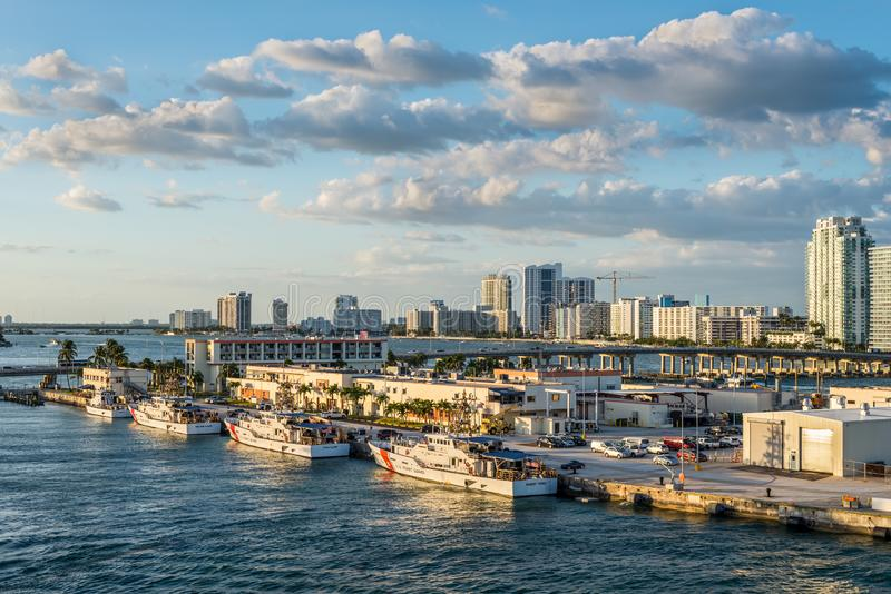 US Coast Guard vessels in Miami, Florida, United States of America. Miami, FL, United States - April 20, 2019:  US Coast Guard vessels docked at its home base in royalty free stock photo