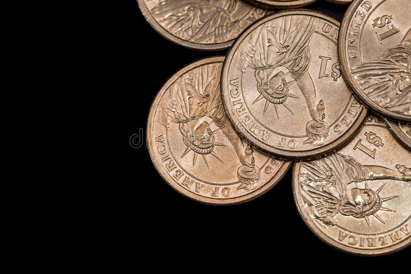 Us coin dollar isolated on black. Background stock photos
