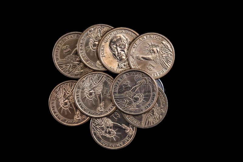 Us coin dollar isolated. On black background stock photos