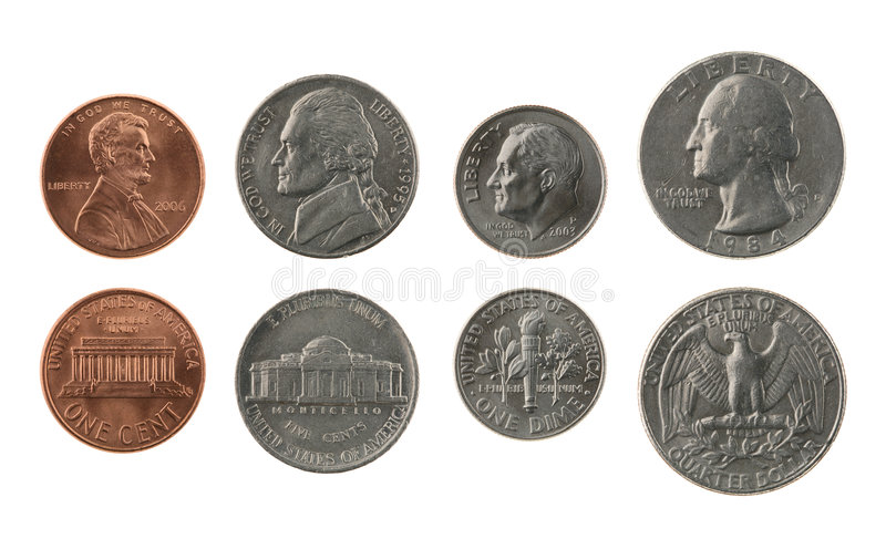 US Coins Collection Isolated on White. Obverse and reverse