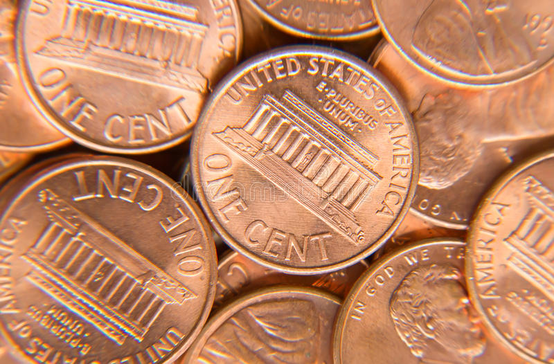 US Coins. Huge pile of the US coins stock photo