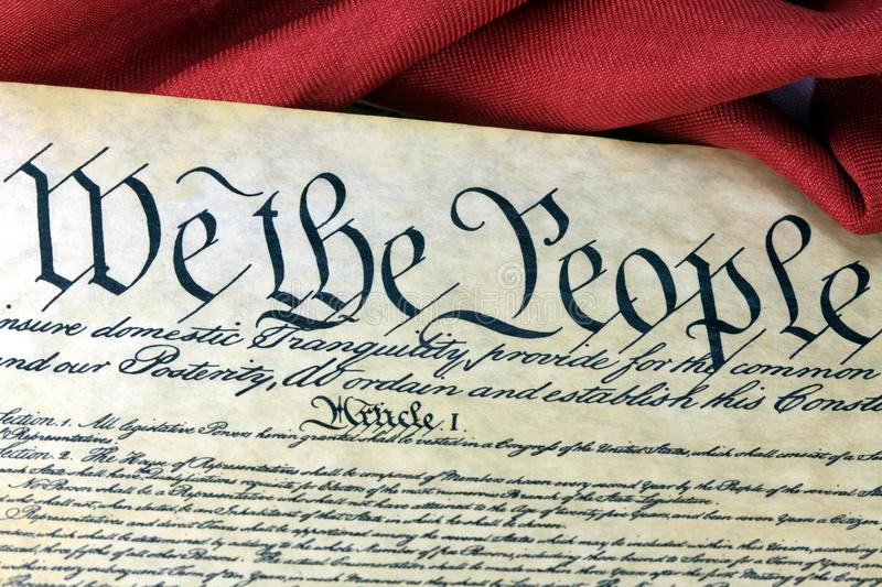 US Constitution - We The People With American Flag Stock ...
