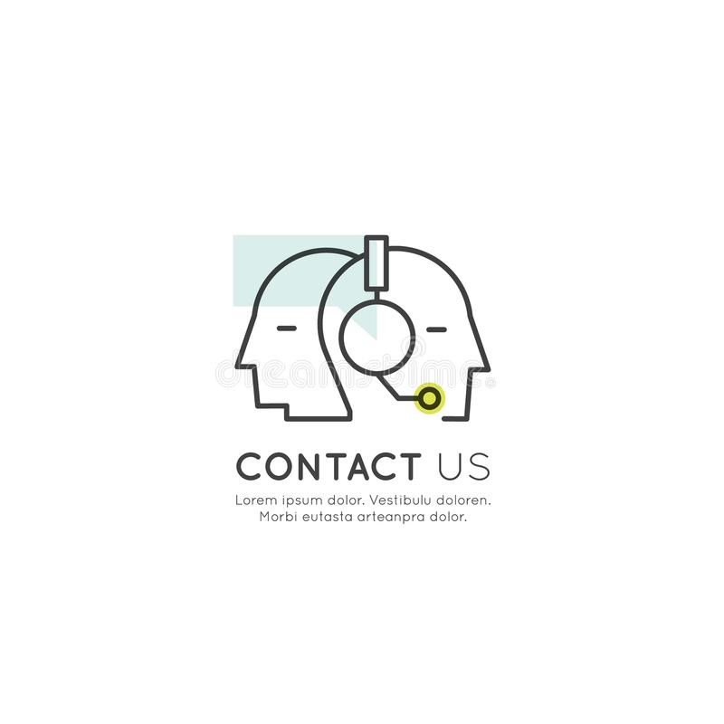 About Us, Contact Us, Join Our Team, Bio Link, Information Page, Human Profile with Headphones. Vector Icon Style Illustration of About Us, Contact Us, Join Our royalty free illustration