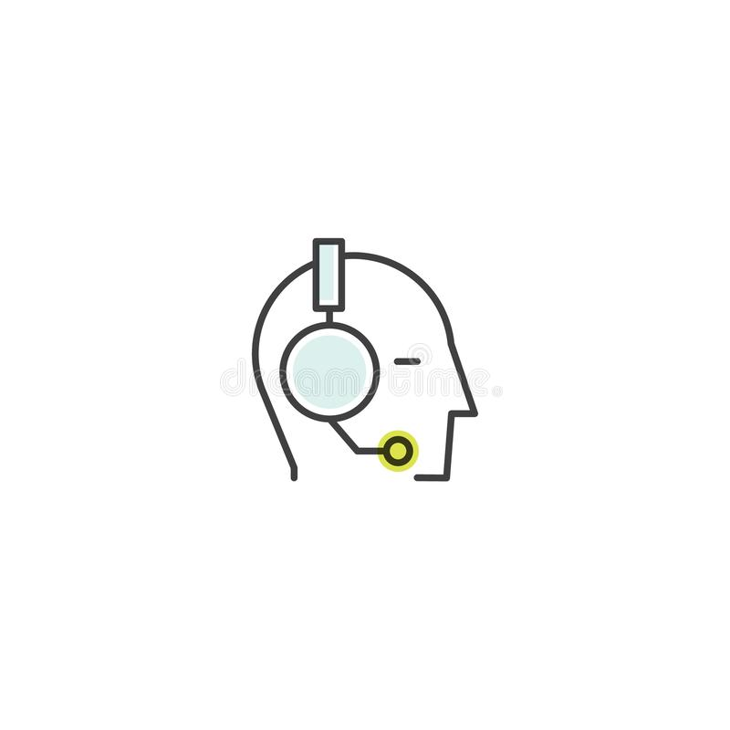 About Us, Contact Us, Join Our Team, Bio Link, Information Page, Human Profile with Headphones. Vector Icon Style Illustration of About Us, Contact Us, Join Our stock illustration