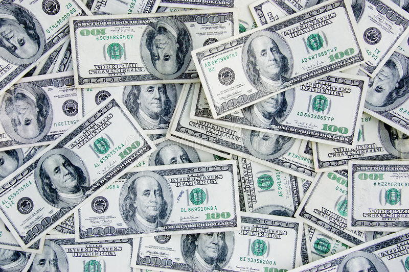 US Currency 100 Dollar Bills royalty free stock photo