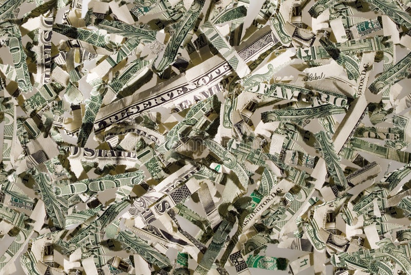 US currency shreds stock image