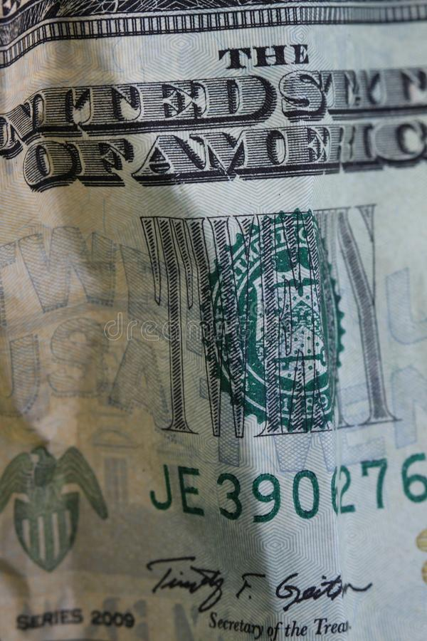 US Currency Twenty Dollar Bill. Stock Photo