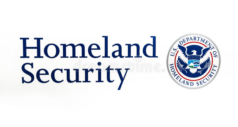 US Department of Homeland Security. New York, April 28, 2017: US Department of Homeland Security seal and caption on white background stock photography