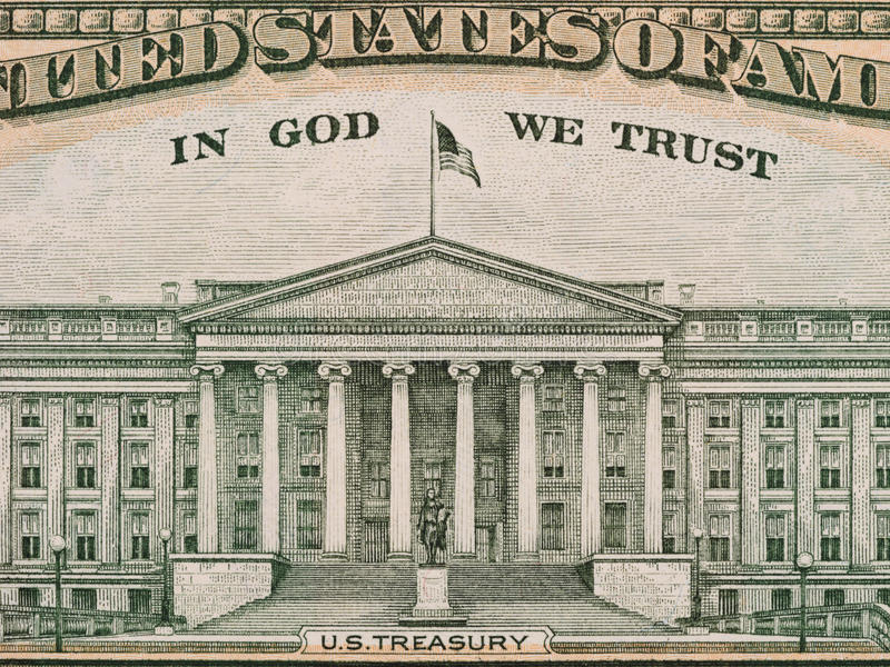 US Department of the Treasury from the reverse of ten dollar bill, united states money closeup stock image