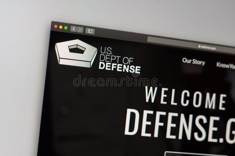 US Dept of Defense website homepage. Close up of Pentagon logo. Miami / USA - 05.11.2019: US Dept of Defense website homepage. Close up of Pentagon logo. Can be stock images