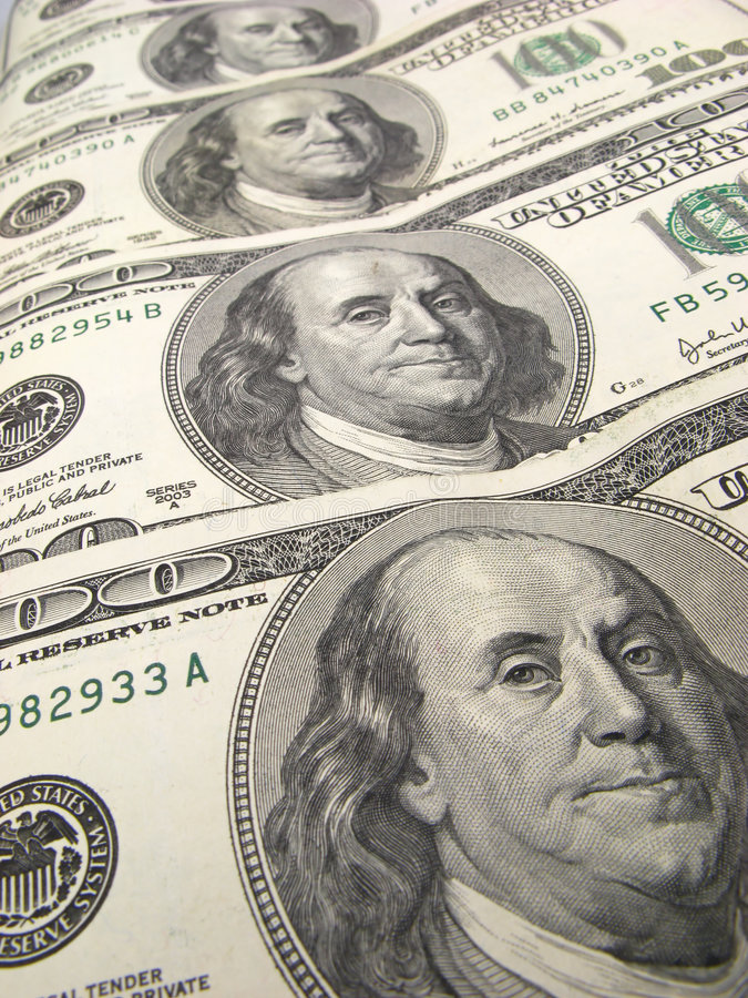 US dollar banknotes. On light background stock image