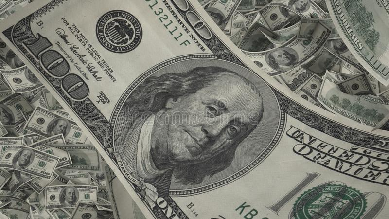 US dollar bill close-up, lots of american money background, banking and finance stock illustration