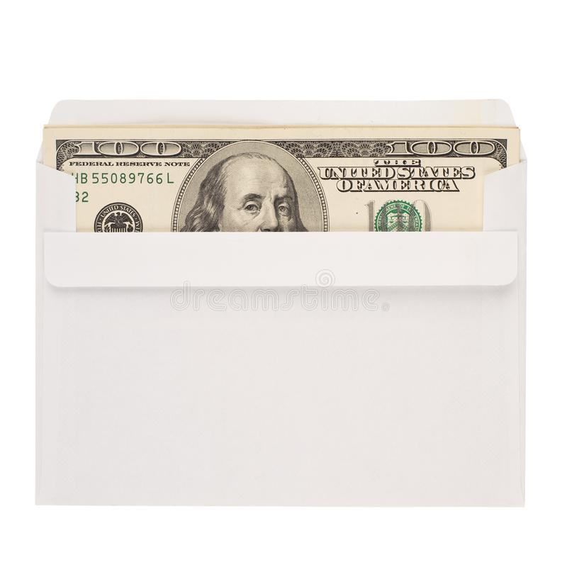 100 US dollar bills in an envelope isolated on white background. royalty free stock images