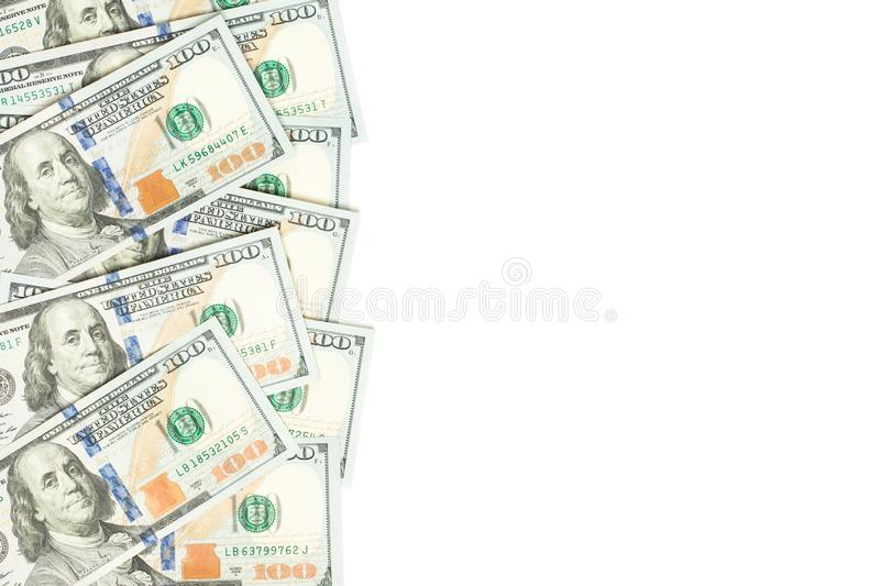 US dollar 100 bills money cash border isolated on white background.  royalty free stock images