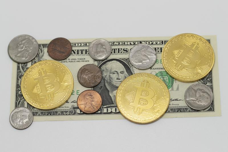 US dollar and bitcoin stock photography