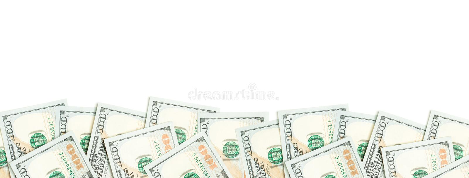 US dollar border isolated on white background. 100 bills money cash.  stock photo