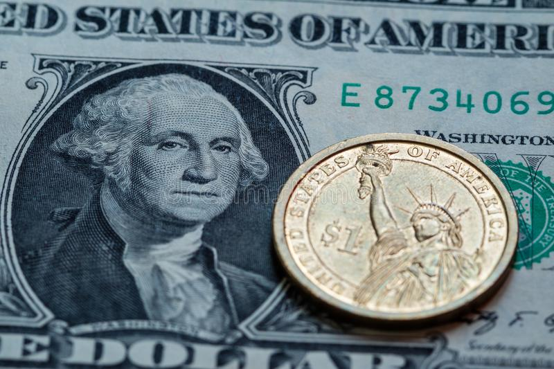 US dollar cash banknote and coin background. Close up stock photography
