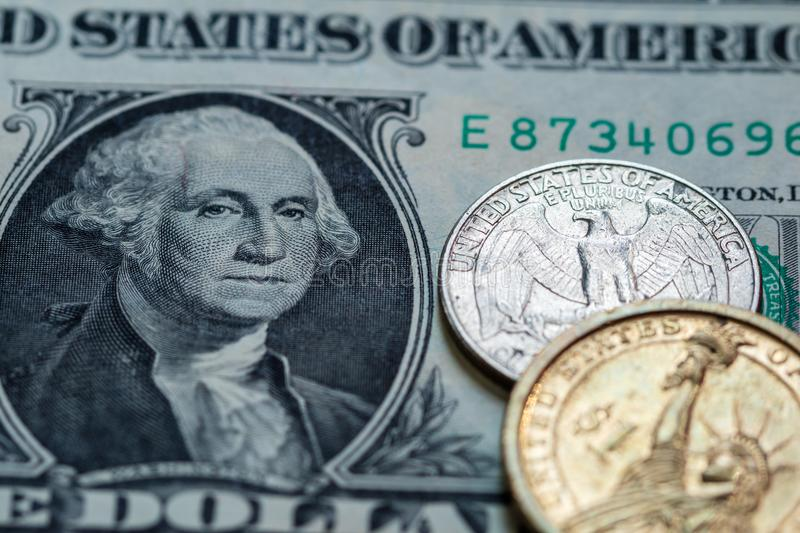 US dollar cash banknote and coin background. Close up stock image