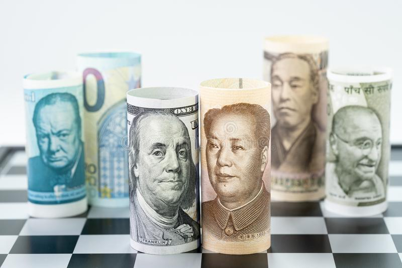 US Dollar and China bank roll at front surrund with world major stock image