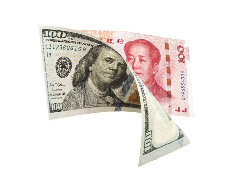 US dollar and China Yuan banknote on white background. Its is symbol for tariff trade war crisis between United States of America. And China which the biggest royalty free stock images