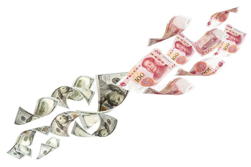 US dollar and China Yuan banknote on white background. Its is symbol for tariff trade war crisis between United States of America. And China which the biggest stock photography
