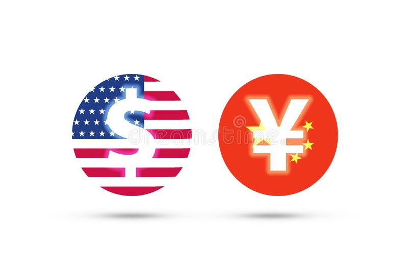 US dollar and China Yuan sign on flag with white background. It is symbol of economic tariff trade war and reduce exchange royalty free illustration