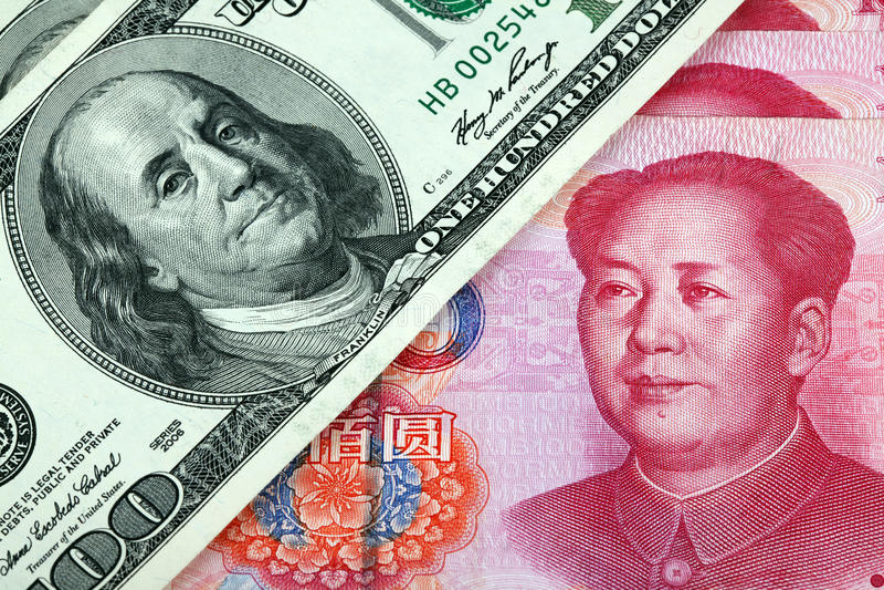 US dollar and Chinese yuan stock image