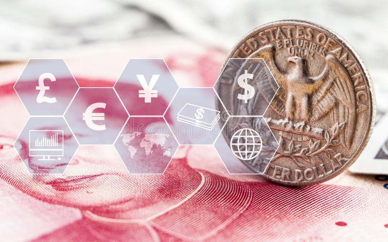 US dollar coin and china yuan bills banknote with icon virtual. The concept of currency exchange can be used worldwide, financial. Or world trade vector illustration