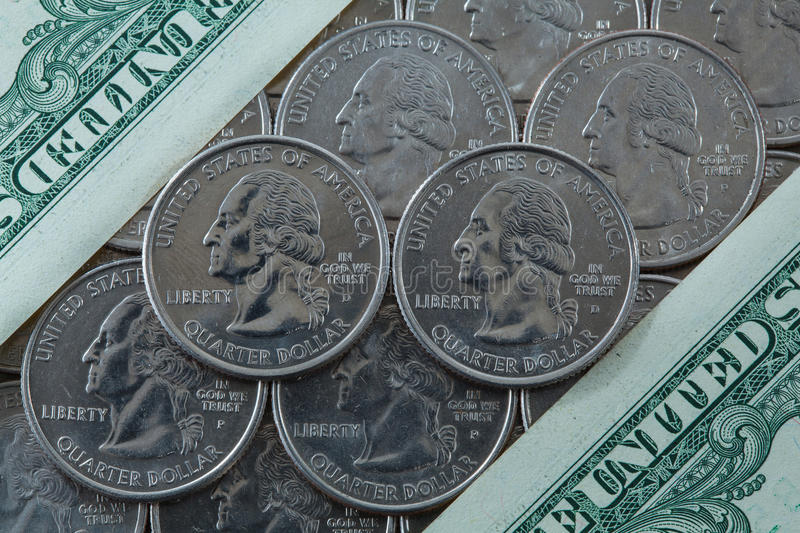 US dollar coins. A lot of US quarter dollar coins royalty free stock images